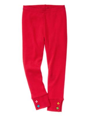 Girls Cheery Red Flower Button Cuff Legging by Gymboree