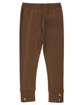 Girls Chestnut Brown Flower Button Cuff Legging by Gymboree