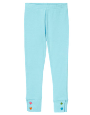 Girls Cozy Blue Flower Button Cuff Legging by Gymboree