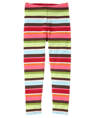 Girls Joyful Green Stripe Stripe Legging by Gymboree