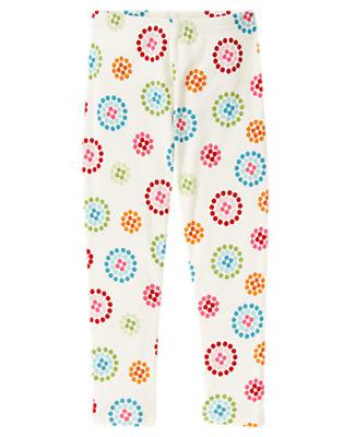 Girls Holiday Ivory Dot Flower Dot Flower Legging by Gymboree