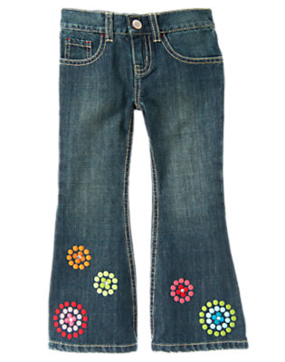 Girls Denim Gem Dot Flower Flare Jean by Gymboree