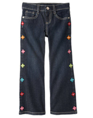 Girls Denim Embroidered Flower Bootcut Jean by Gymboree