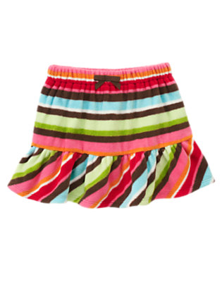 Joyful Green Stripe Stripe Microfleece Skirt by Gymboree