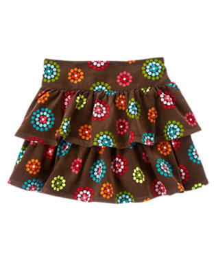 Chestnut Brown Dot Flower Dot Flower Corduroy Skort by Gymboree