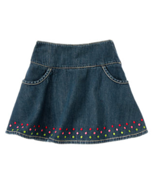 Girls Denim Embroidered Dot Jean Skort by Gymboree