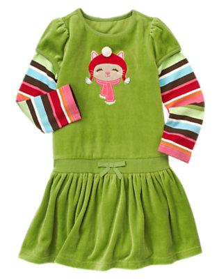 Girls Joyful Green Pom Pom Kitty Double Sleeve Dress by Gymboree