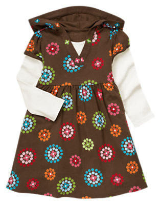 Girls Chestnut Brown Dot Flower Dot Flower Double Sleeve Hoodie Dress by Gymboree
