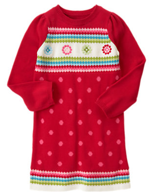 Cheery Red Dot Fair Isle Sweater Dress by Gymboree