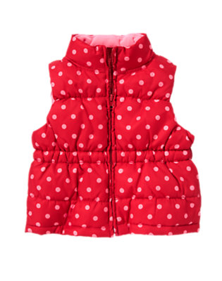 Girls Cheery Red Dot Dot Puffer Vest by Gymboree