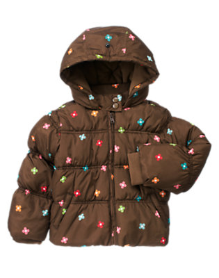Girls Chestnut Brown Floral Flower Hooded Puffer Jacket by Gymboree
