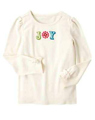Holiday Ivory Embroidered Joy Dot Tee by Gymboree