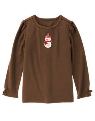 Chestnut Brown Embroidered Snowman Tee by Gymboree