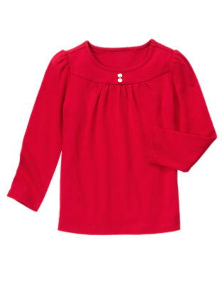 Cheery Red Gem Button Tee by Gymboree