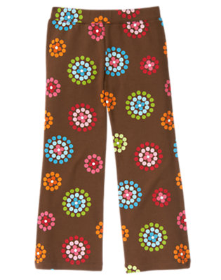 Girls Chestnut Brown Dot Flower Dot Flower Flare Pant by Gymboree