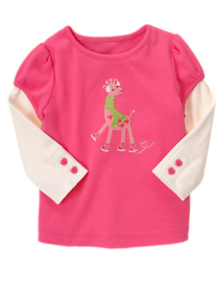Loveable Pink Ice Skating Giraffe Double Sleeve Tee by Gymboree