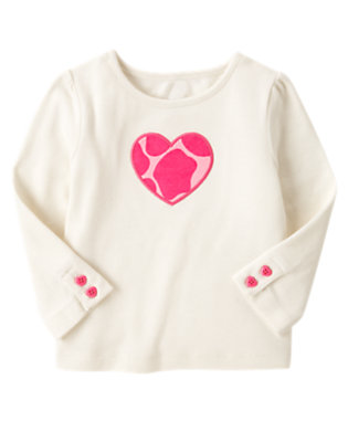 Holiday Ivory Giraffe Heart Tee by Gymboree