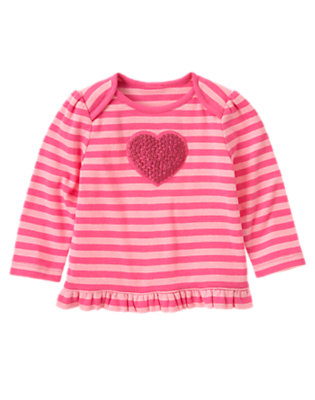 Playful Pink Stripe Glitter Heart Stripe Top by Gymboree