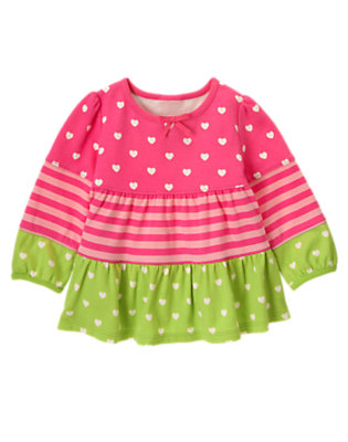 Loveable Pink Stripe Heart Stripe Tiered Top by Gymboree