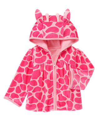 Toddler Girls Loveable Pink Giraffe Giraffe Velour Hoodie by Gymboree