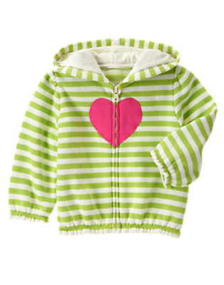 Lime Green Stripe Heart Stripe Fleece Hoodie by Gymboree