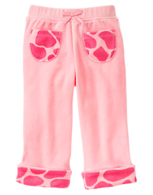 Toddler Girls Playful Pink Giraffe Cuff Velour Pant by Gymboree