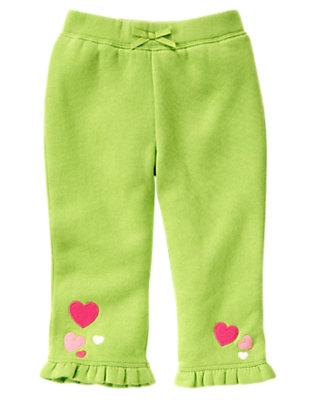 Lime Green Heart Ruffle Hem Fleece Pant by Gymboree