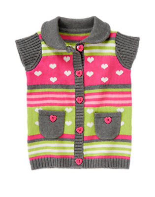 Toddler Girls Loveable Pink Stripe Heart Stripe Sweater Cardigan by Gymboree