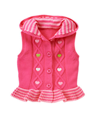 Toddler Girls Loveable Pink Embroidered Heart Sweater Hoodie Vest by Gymboree