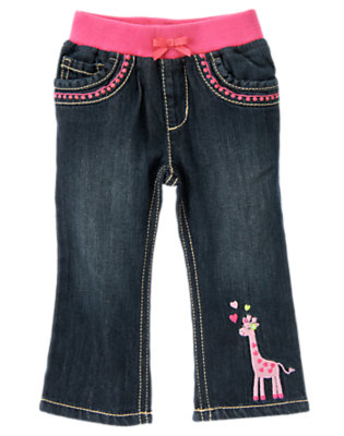 Toddler Girls Denim Embroidered Giraffe Jean by Gymboree