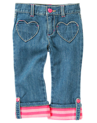Toddler Girls Denim Heart Pocket Stripe Cuff Jean by Gymboree