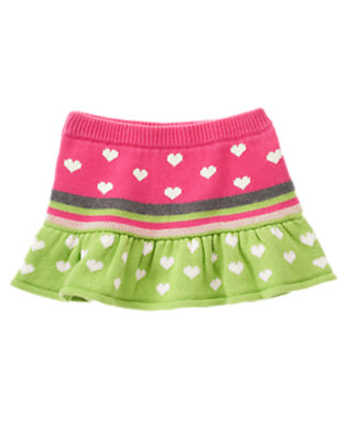 Toddler Girls Loveable Pink Stripe Heart Stripe Sweater Skirt by Gymboree