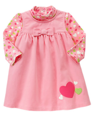 Toddler Girls Playful Pink Heart Corduroy Jumper Two-Piece Set by Gymboree