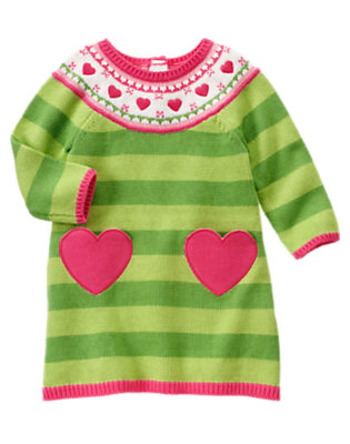 Toddler Girls Bright Green Stripe Heart Stripe Sweater Dress by Gymboree