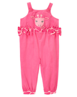 Toddler Girls Loveable Pink Giraffe Corduroy Overall by Gymboree