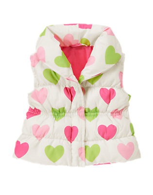 Toddler Girls Holiday Ivory Heart Heart Puffer Vest by Gymboree