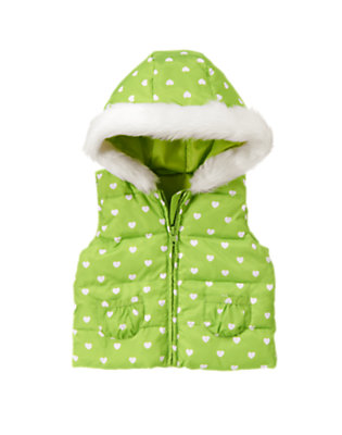 Lime Green Heart Heart Hooded Puffer Vest by Gymboree