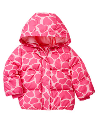 Toddler Girls Loveable Pink Giraffe Giraffe Hooded Puffer Jacket by Gymboree