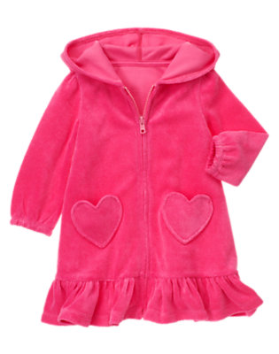 Toddler Girls Loveable Pink Heart Pocket Terry Swim Cover-Up by Gymboree
