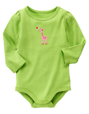 Lime Green Heart Giraffe Bodysuit/Tee by Gymboree