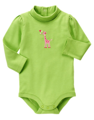 Lime Green Heart Giraffe Turtleneck Bodysuit/Tee by Gymboree