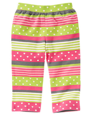Toddler Girls Loveable Pink Stripe Heart Stripe Knit Pant by Gymboree