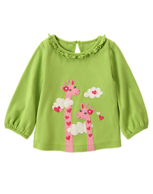 Lime Green Mom & Baby Giraffe Ruffle Tee by Gymboree