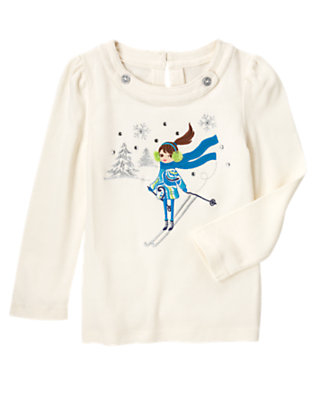 Holiday Ivory Gem Ski Girl Tee by Gymboree