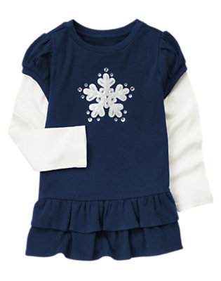 Princess Blue Gem Snowflake Double Sleeve Top by Gymboree