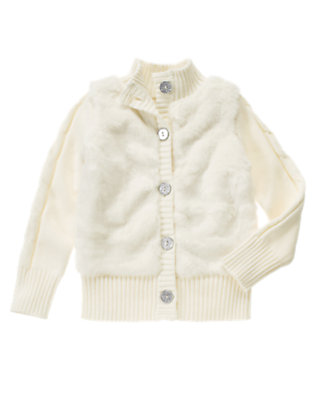 Holiday Ivory Faux Fur Sweater Cardigan by Gymboree