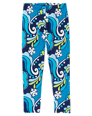 Girls Winter Blue Snowflake Snowflake Swirl Legging by Gymboree