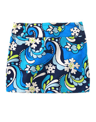 Girls Winter Blue Snowflake Snowflake Swirl Velvet Corduroy Skort by Gymboree