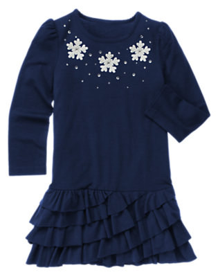 Princess Blue Gem Snowflake Ruffle Dress by Gymboree