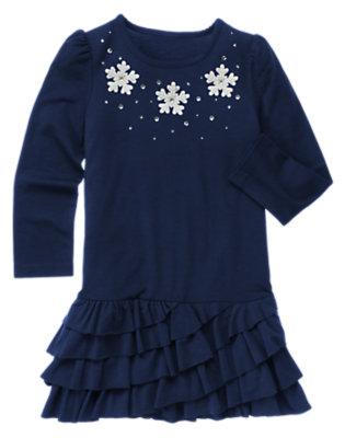 Girls Princess Blue Gem Snowflake Ruffle Dress by Gymboree